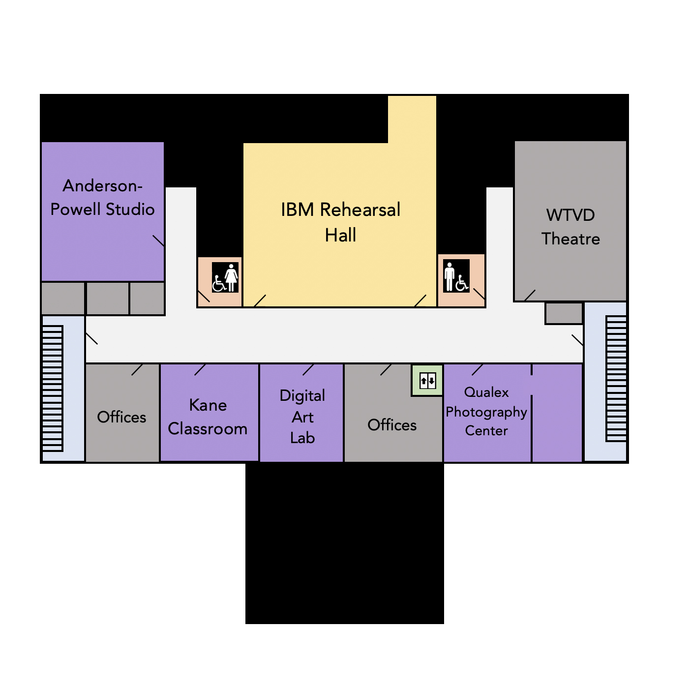 Floor plan of the lower level of the DAC building