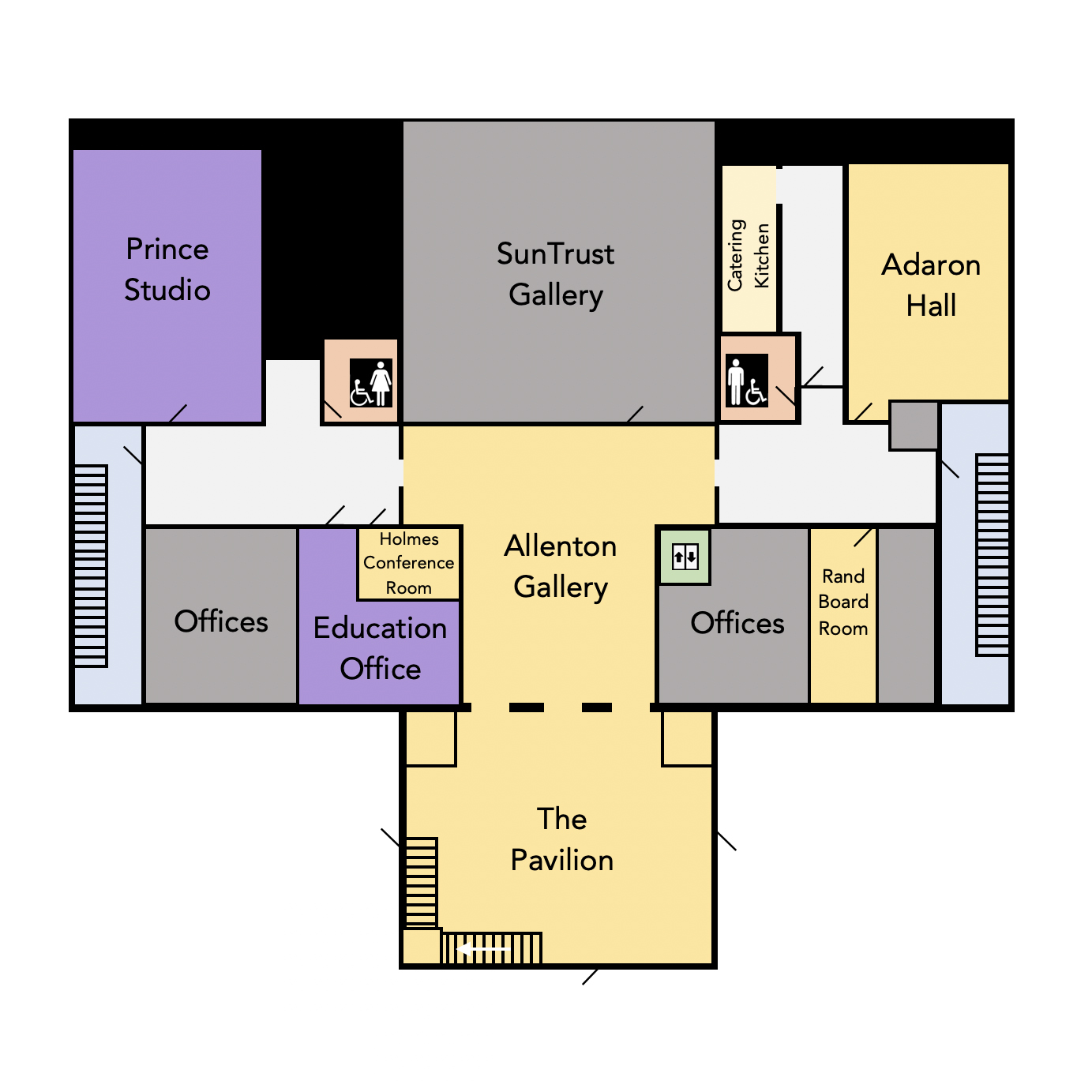 Floor plan of the main level of the DAC building