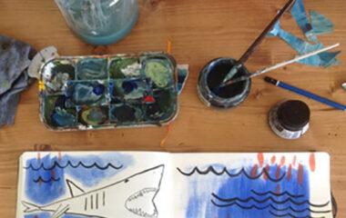 In process work on an artist's desk